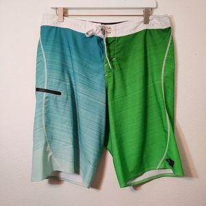 O'Neil Green & Blue Board Shorts Swimsuit 34